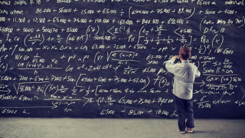 Child At Math Blackboard